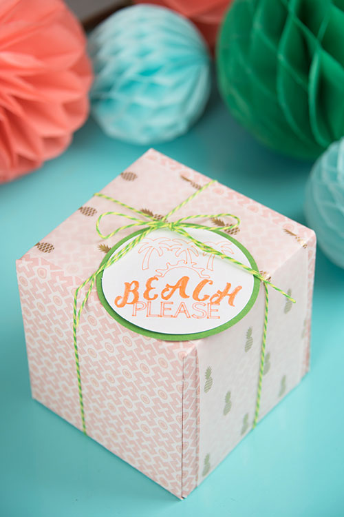 Tie a tag onto the box with baker's twine