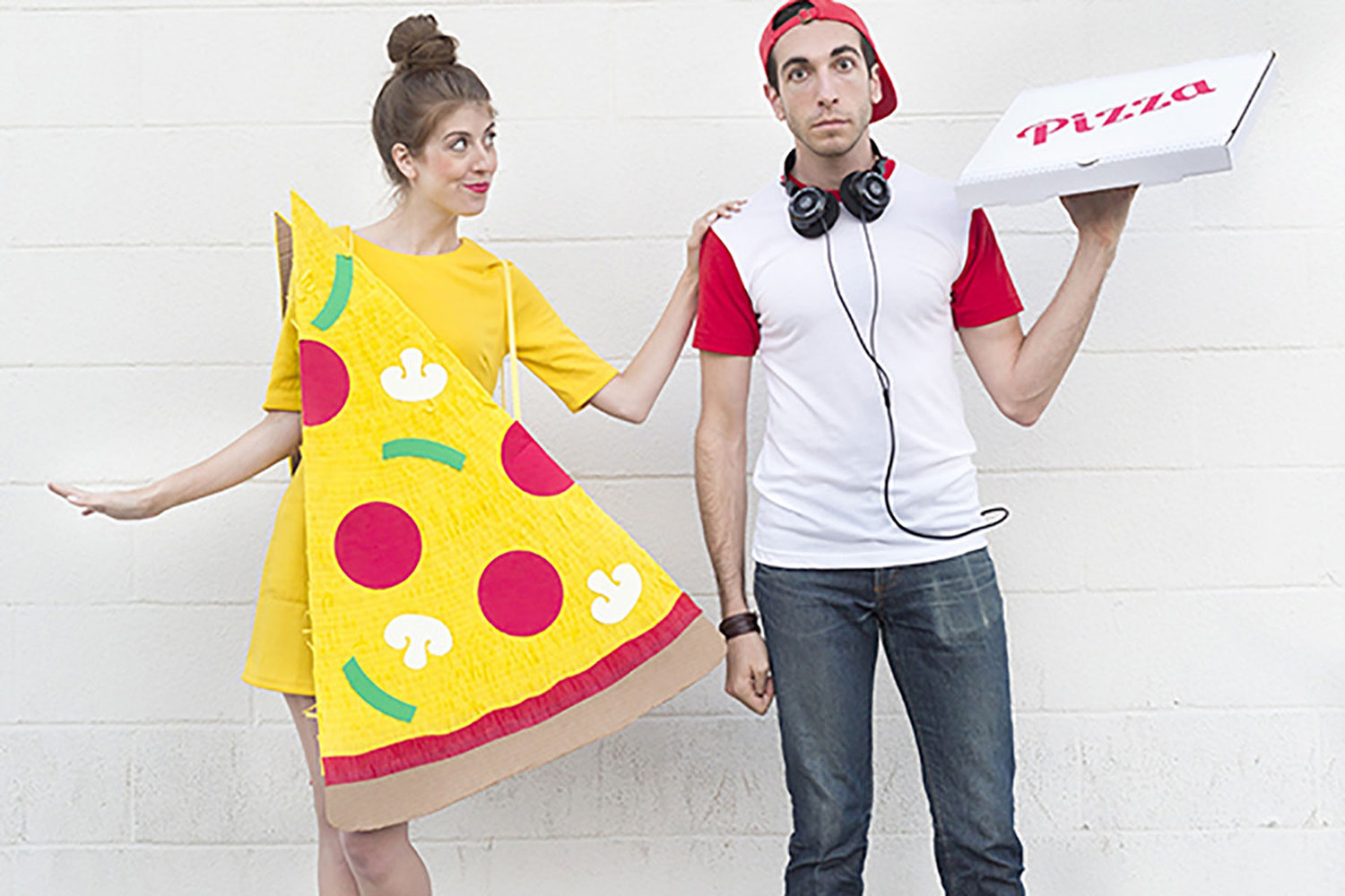 Go as a pizza slice and a delivery boy for a couple's costume