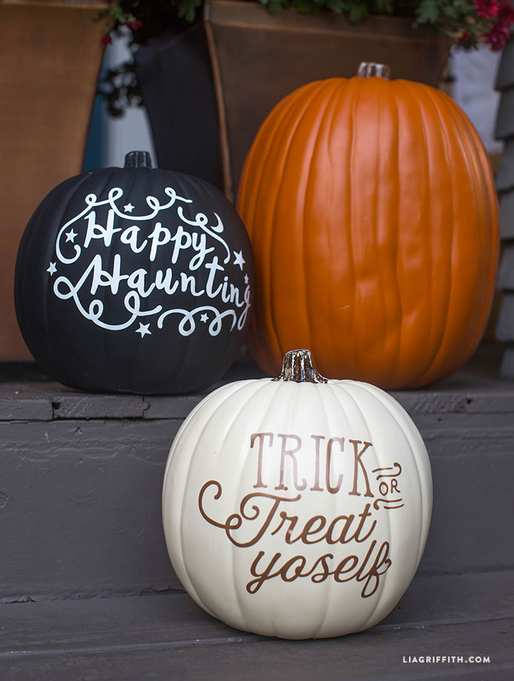 TIP: Using vinyl to decorate pumpkins means they'll last much longer than cut ones.
