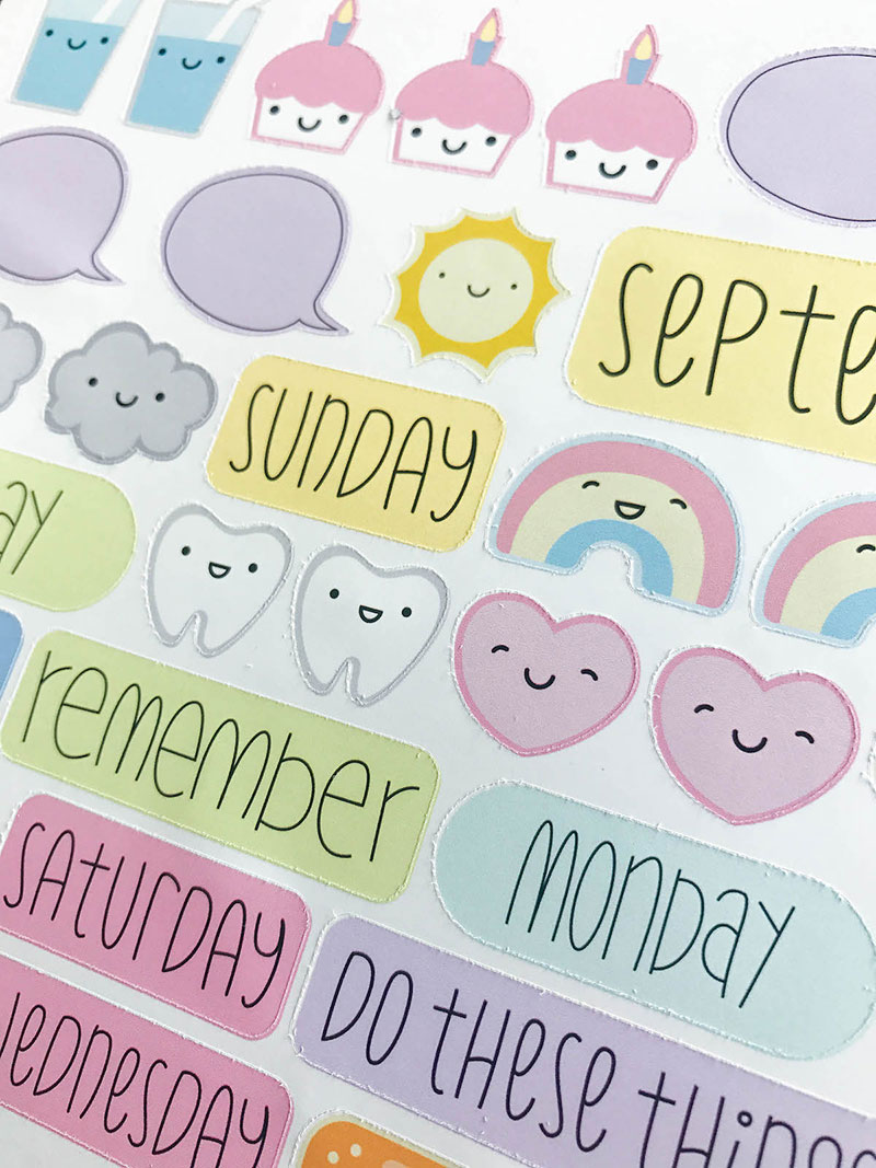 Closeup of the cut lines on planner stickers