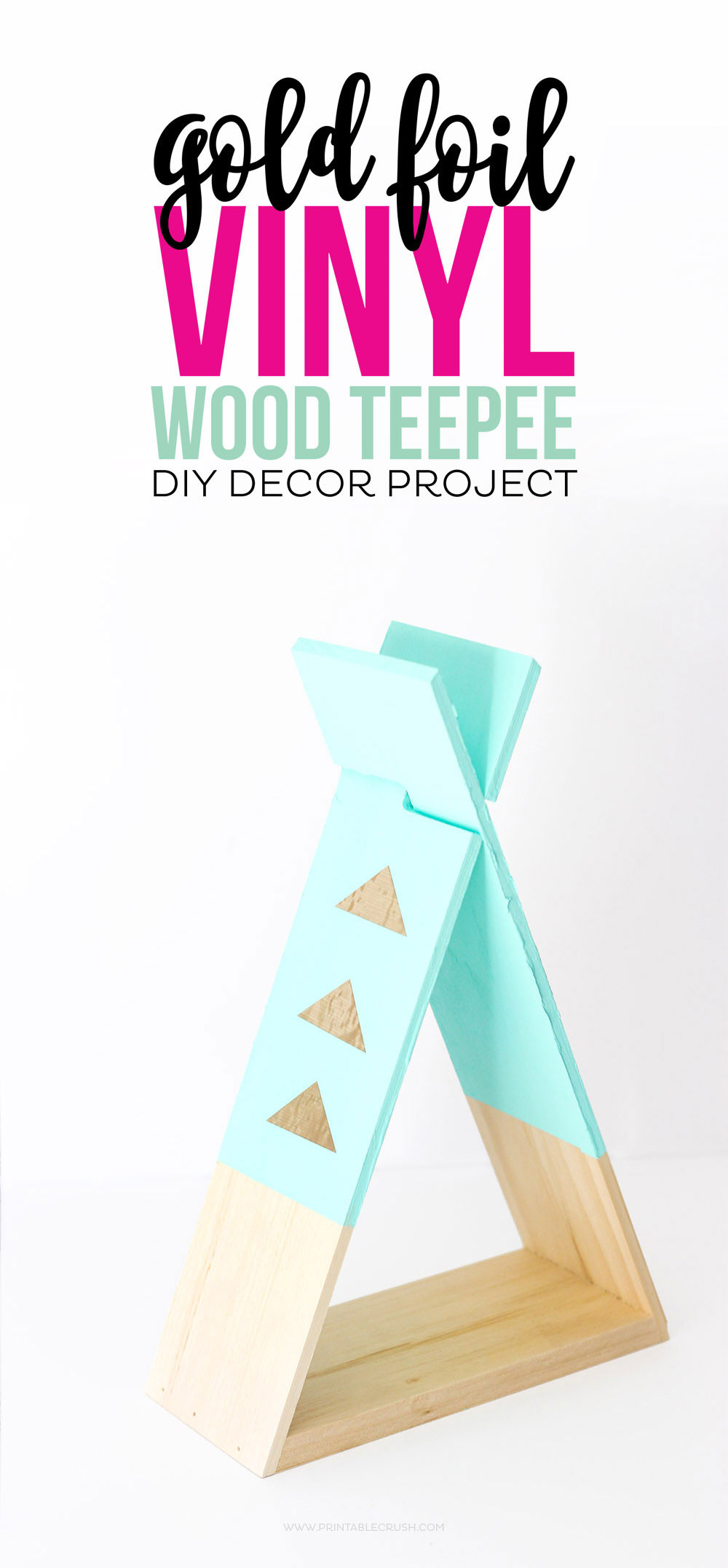 Make this wood teepee for a desk or bookshelf
