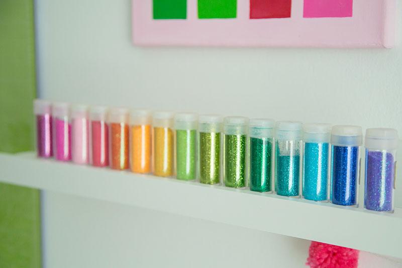 Organizing glitter tubes