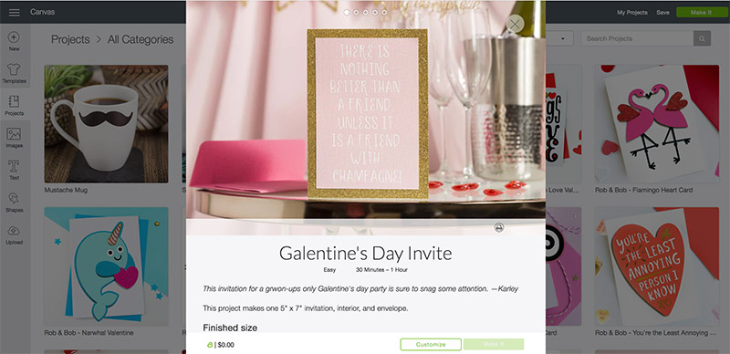 Open the Galentine's Day Invite project
