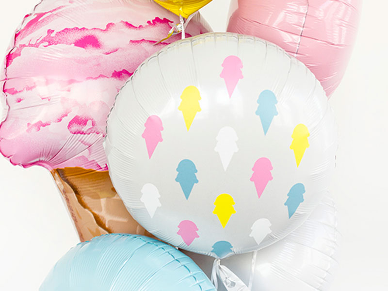 Decorate mylar balloons with ice cream cones made with vinyl