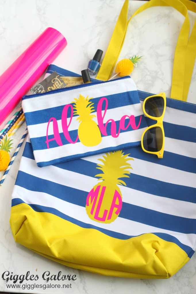 Monogrammed Beach Bag by Giggles Galore