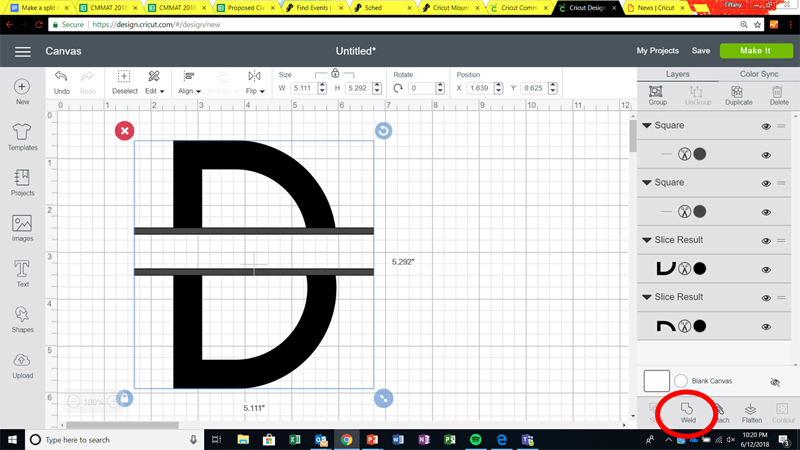 Making a split monogram in Cricut Design Space