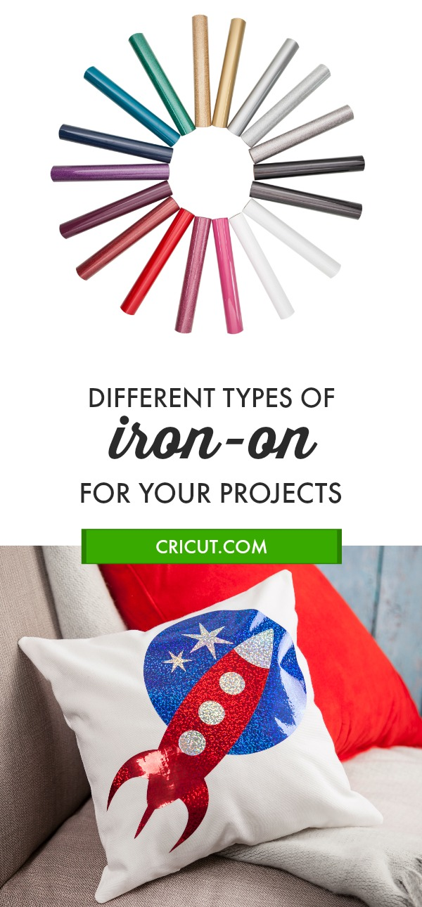 Learn about 6 different types of iron-on that you can use to take your craft project to the next level #Cricut #ironon #htv #heattransfervinyl