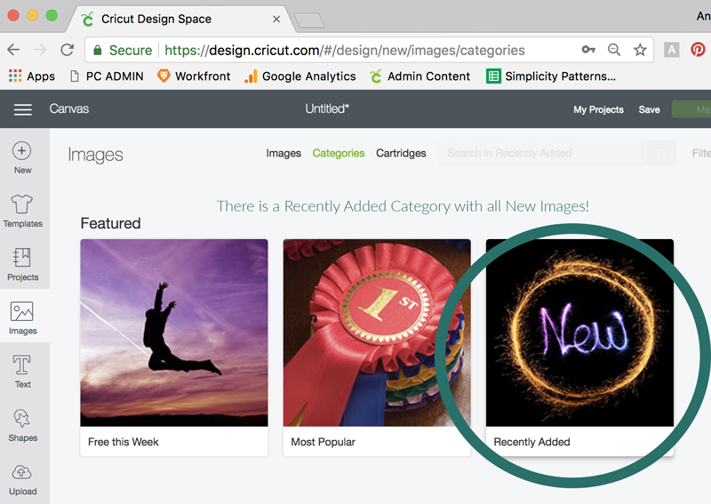 Recently Added Images in Design Space