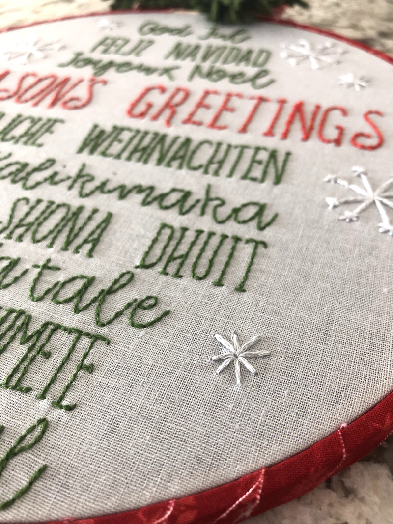 DIY Holiday Phrases Embroidery Hoop