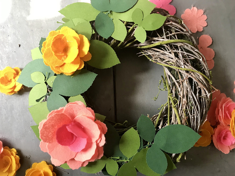 DIY Spring Wreath with Felt Flowers