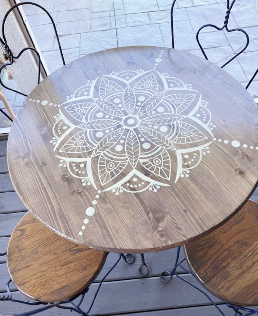 Porch bistro table with vinyl decal