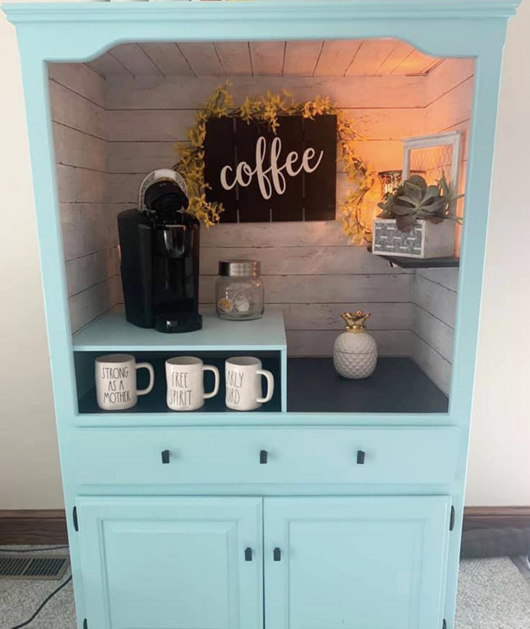 Custom coffee sign and mugs