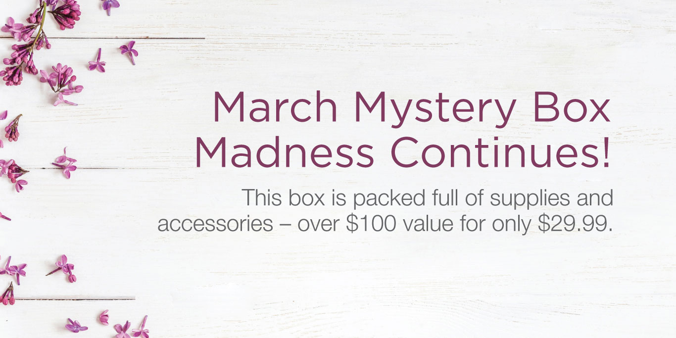 March Mystery Box Madness Continues! This box is packed full of supplies and accessories -- over $100 value for for only $29.99.